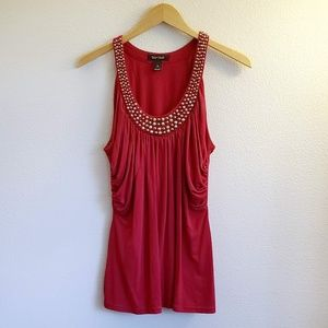 WHBM Silver Studded Collar Red Ruched Tank Top